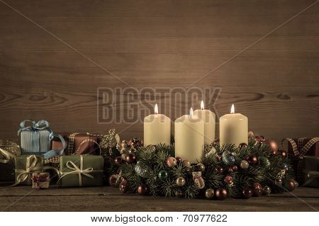 Advent Wreath Or Crown With Christmas Gifts For A Voucher.