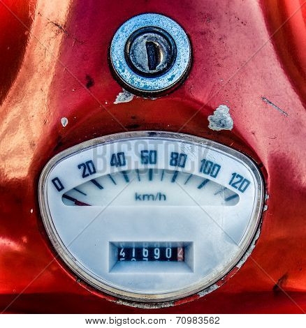 Vintage Red Italian Moped Speedometer
