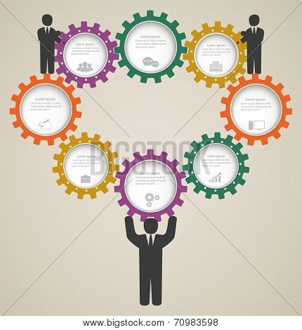 Business Infographics, Design Template With Gear And Icons, Business People