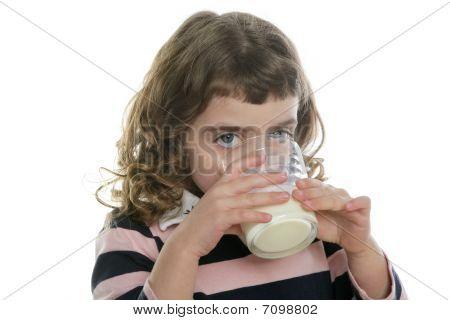 Brunette Little Girl Drinking Glass Of Milk