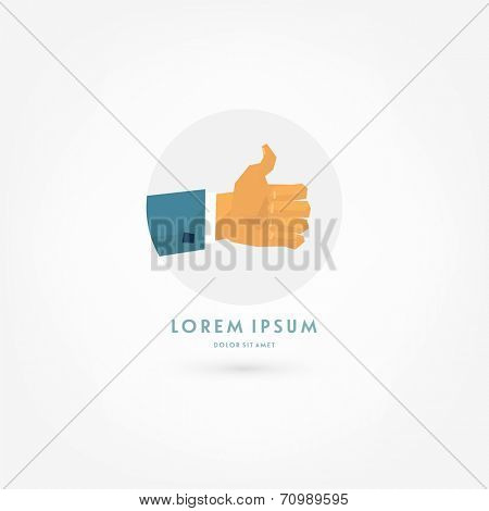Vector Thumb Up Icon with Shadow