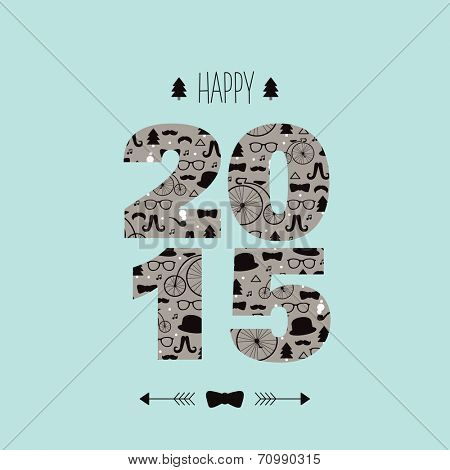 Happy new year 2015 typography and hipster illustration pattern invitation cover card design in vector