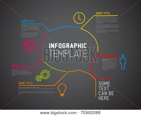 Vector Infographic report template made from lines and icons (big speach bubble) - dark version