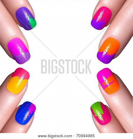 Multi-colored Nail Polish Isolated On White Background