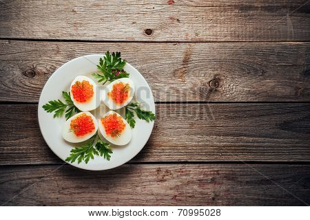 Egg Dish With Red Caviar