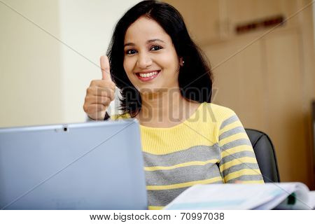 Young Woman Working With Tablet Computer