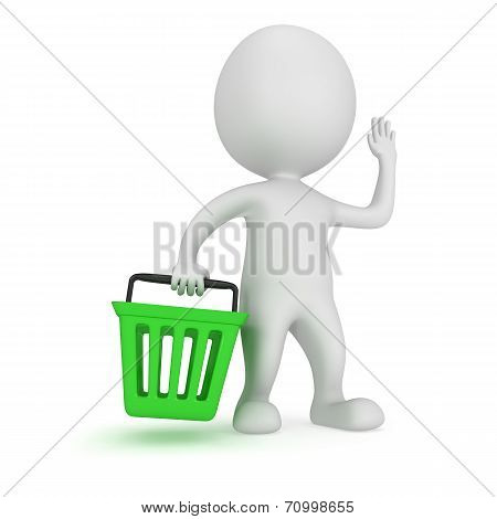 3D White Man Stand With Green Shop Basket
