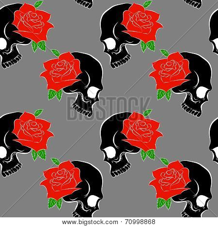 Seamless pattern with skulls and rose gray background