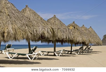 Beach Palapas By The Mexican Pacific Ocean