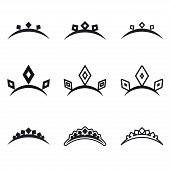 stock photo of princess crown  - Decorative crowns for princess symbols collection isolated on white vector illustration - JPG