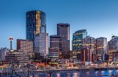 image of skyscrapers  - Skyscrapers towering over Calgary Alberta Canada at night - JPG
