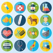 pic of petting  - Veterinary pet health care animal medicine icons set isolated vector illustration - JPG