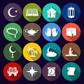 stock photo of islamic religious holy book  - Islamic church muslim arabic spiritual traditional symbols flat icons set isolated vector illustration - JPG