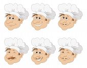 image of chef cap  - Set cartoon heads chef cooks in a toque blanche caps - JPG