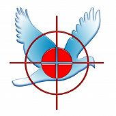 foto of tyranny  - War Against Peace Symbol as Red Target Blue Dove over White Background - JPG