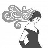 foto of flowing hair  - Elegant woman with flowing hair or veil  - JPG