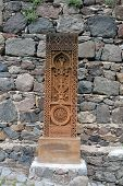 pic of armenia  - Prolonged carved cross on the stone in Armenia - JPG