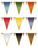 stock photo of tassels  - set of glossy pennants with gold tassels 9 variations isolated on white - JPG