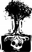 image of pain-tree  - Woodcut style image of a tree with a face where roots grow around a buried giant skull - JPG