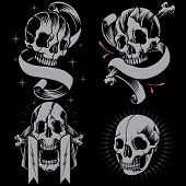 pic of skull cross bones  - Skulls in Old school Tattoo Style Vector - JPG