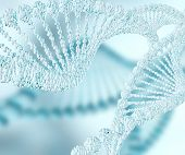 stock photo of double helix  - iceblue Dna double helix molecules and chromosomes - JPG