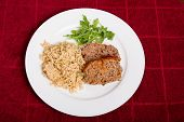 foto of meatloaf  - Some Meatloaf with brown rice and arugula - JPG