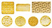 image of sesame seed  - Selection of seven savoury biscuits and crackers on an isolated white background.