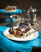 image of eclairs  - Chocolate Eclairs And Cup Of Espresso on the table - JPG