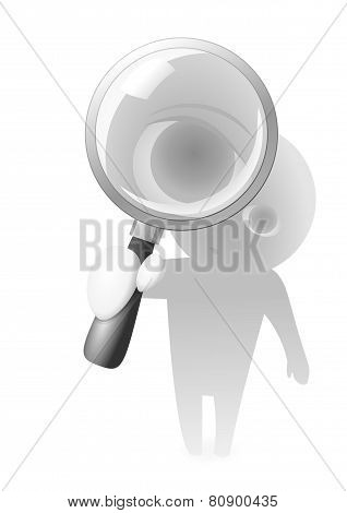 Lens Guy and Magnifying Glass Vector