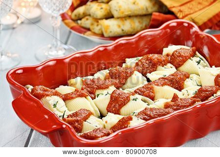 Ricotta Stuffed Cheese Shells And Bread