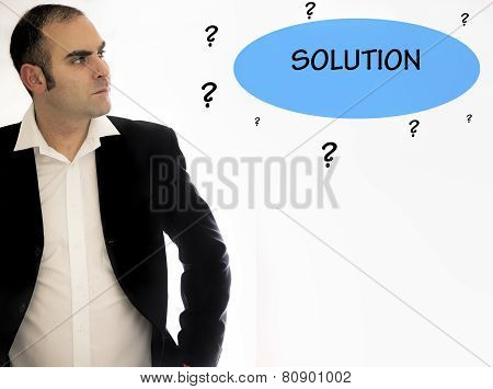 Business man trying to find a solution