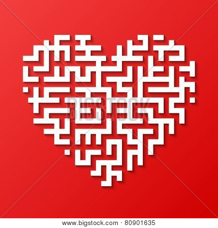 Maze heart. Vector.