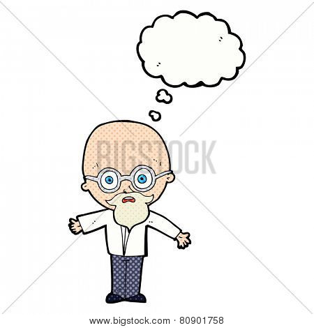 cartoon genius scientist with thought bubble
