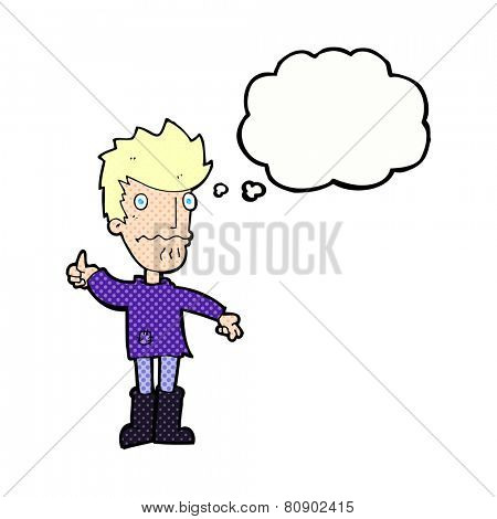 cartoon worried man giving thumbs up symbol with thought bubble