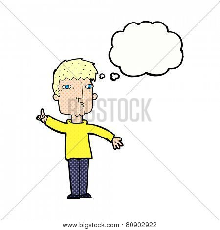 cartoon man raising point with thought bubble
