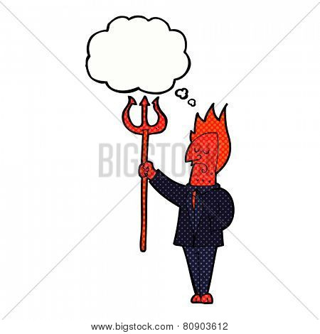 cartoon devil with pitchfork with thought bubble