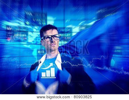 Bar Graph Strong Superhero Success Professional Empowerment Stock Concept