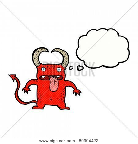 cartoon little devil with thought bubble
