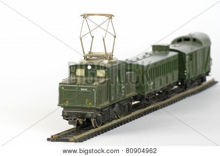 electric train green toy miniature