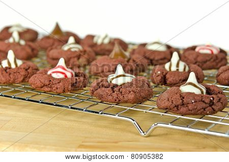 chocolate cookies on cooling rack