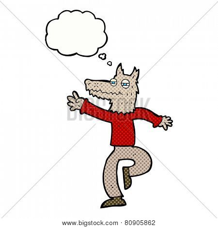 cartoon happy wolf man with thought bubble