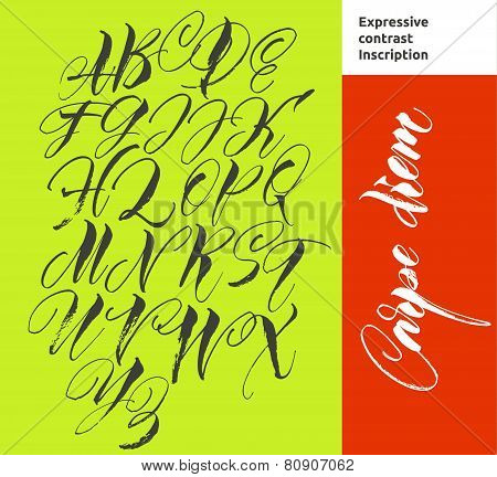 Alphabet letters: uppercase. Vector alphabet. Hand drawn letters. Letters of the alphabet written wi