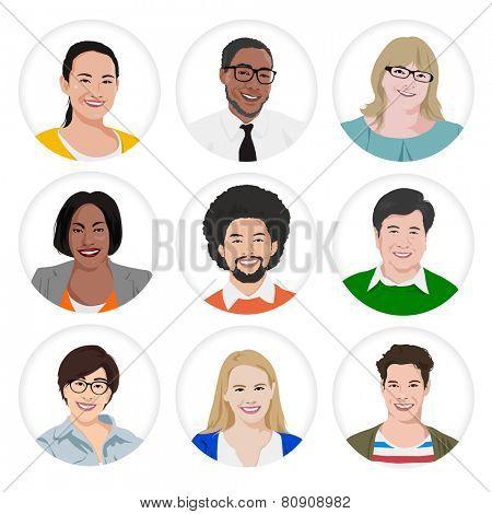 People Diversity Portraits Vector