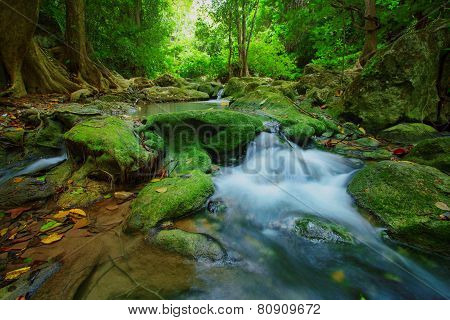 Waterfalls In Deep Forest ,natural Green Background