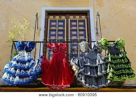 Traditional Flamenco Dresses At A House In Malaga, Andalusia, Spain
