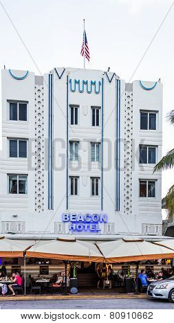 Facade Of Beacon Hotel At Ocean Drive, Miami
