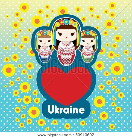 Ukrainian Patriotic Matryoshka Babushka Dolls