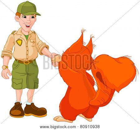 Illustration of park ranger are shaking hands with squirrel