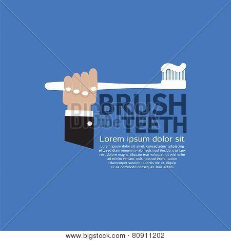 Teeth Brushing Vector Illustration.