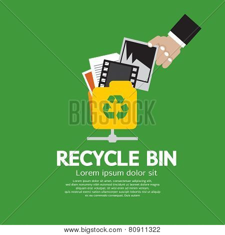 Recycle Bin Vector Illustration.